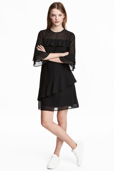 Flounced dress - Black - Ladies | H&M CN 1