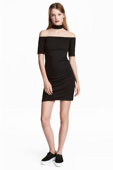 Off-the-shoulder dress - Black - Ladies | H&M CN