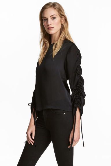 Blouse with drawstrings - Black - Ladies | H&M 1