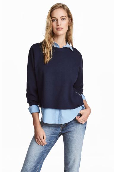 Fine-knit jumper - Dark blue marl -  | H&M
