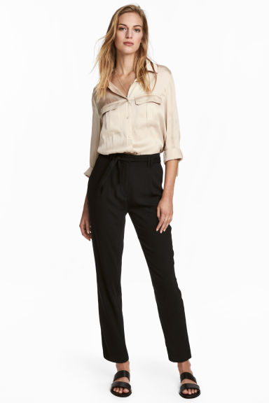 Pantaloni con cintura - Nero - DONNA | H&M IT