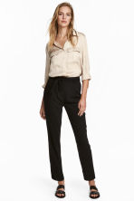 Trousers with a tie belt - Black - Ladies | H&M IE 1