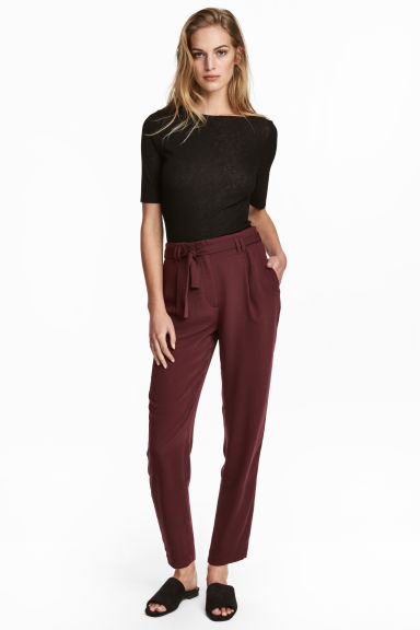 Trousers with a tie belt - Burgundy - Ladies | H&M GB 1