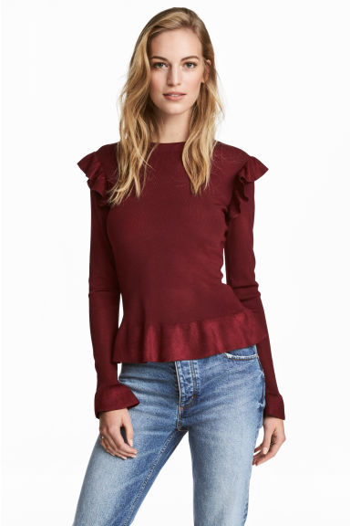 Jumper with flounces - Burgundy - Ladies | H&M 1