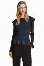 Jumper with flounces - Dark blue - Ladies | H&M 1