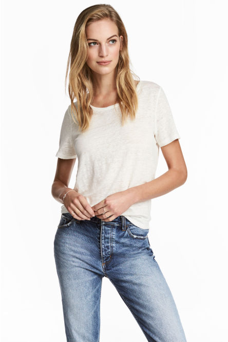 Linen round-necked top