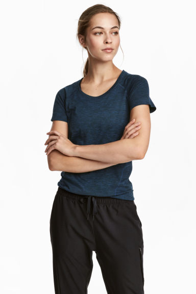 Seamless sports top - Dark blue marl -  | H&M 1