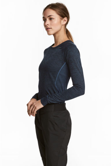 Seamless sports top - Dark blue marl - Ladies | H&M CA