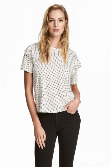 Top with frills - White/Spotted -  | H&M 1