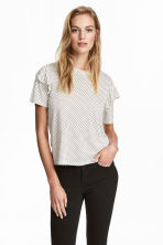 Top met volants - Wit/stippen -  | H&M BE 1