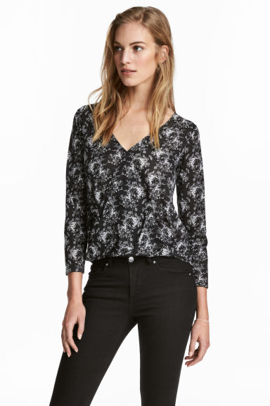 Top in jersey - Nero/fiori - DONNA | H&M IT 1