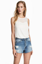 Sleeveless top with lace - White - Ladies | H&M 1