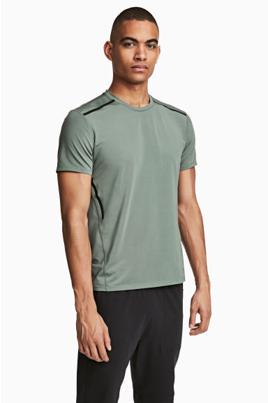 Short-sleeved sports top - Khaki green - Men | H&M 1