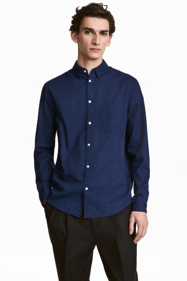 Denim shirt Regular fit - Dark denim blue -  | H&M CN 1