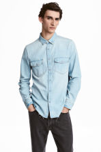 丹寧襯衫 - Light denim blue - Men | H&M 1