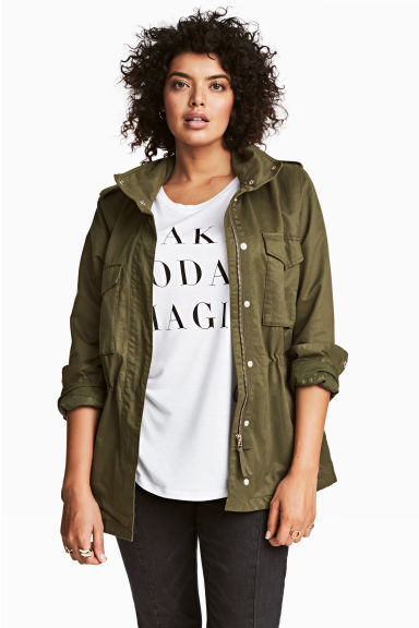 H&M+ Cargo jacket - Khaki green - Ladies | H&M 1