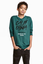 Printed sweatshirt - Petrol green - Kids | H&M 1