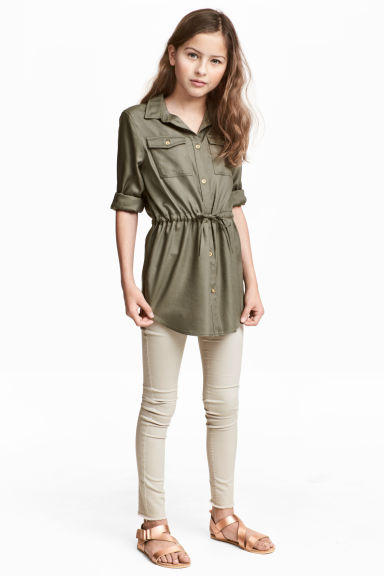 Trousers with a belt - Light beige - Kids | H&M 1