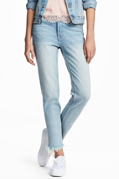 Straight Cropped Jeans - Light denim blue - Ladies | H&M 1