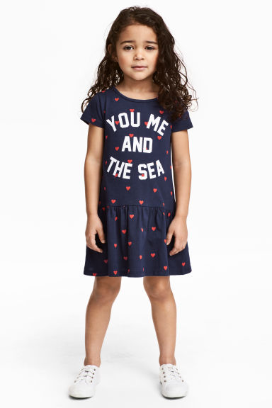Jersey dress - Dark blue/Heart - Kids | H&M 1