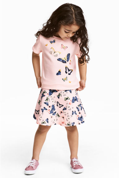 Top and skirt - Light pink/Butterflies - Kids | H&M