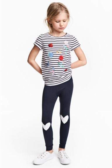Printed leggings - Dark blue/Heart - Kids | H&M
