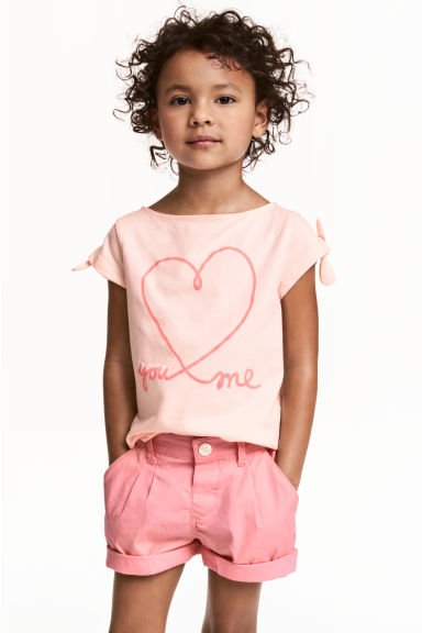 Printed jersey top - Light pink/Heart -  | H&M CN 1