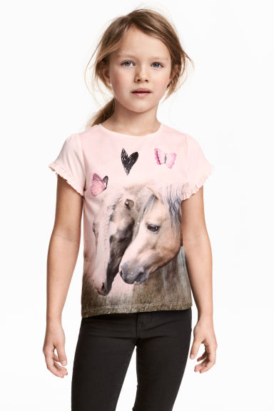 Jersey top - Light pink/Horses - Kids | H&M 1