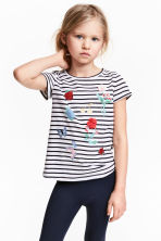 Short-sleeved top - White/Dark blue/Striped -  | H&M CN 1