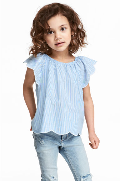 Blouse with butterfly sleeves - Light blue/White striped - Kids | H&M 1