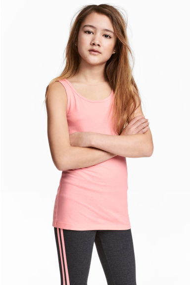 Jersey vest top - Coral pink -  | H&M CA 1
