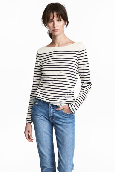 Top met boothals - Wit/gestreept - DAMES | H&M BE 1