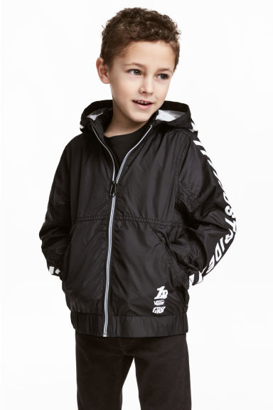 Jersey-lined windproof jacket - Black - Kids | H&M CN