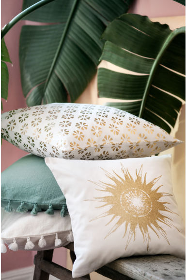 Copricuscino con sole stampato - Bianco/dorato - HOME | H&M IT