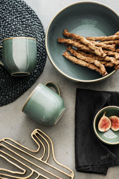 Stoneware salad bowl - Dusky green - Home All | H&M CN 1