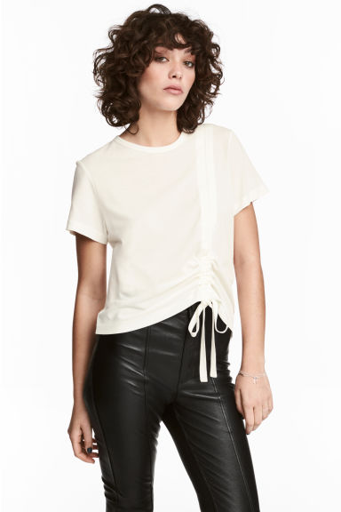 Pima cotton top - Natural white - Ladies | H&M CN 1