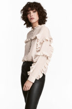 Silk frilled blouse - Light pink -  | H&M 1