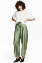 Wide silk trousers - Green -  | H&M 1