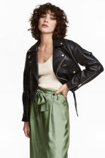 Leather biker jacket - Black -  | H&M 1