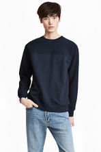 Textured sweatshirt - Dark blue - Men | H&M CN 1