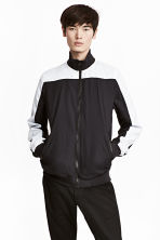 Jacket with a stand-up collar - Black/White - Men | H&M 1