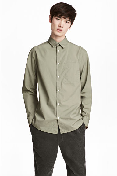比馬棉襯衫 - Light khaki green - Men | H&M
