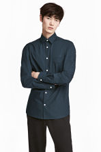 Pima cotton shirt - Dark blue - Men | H&M CN 1