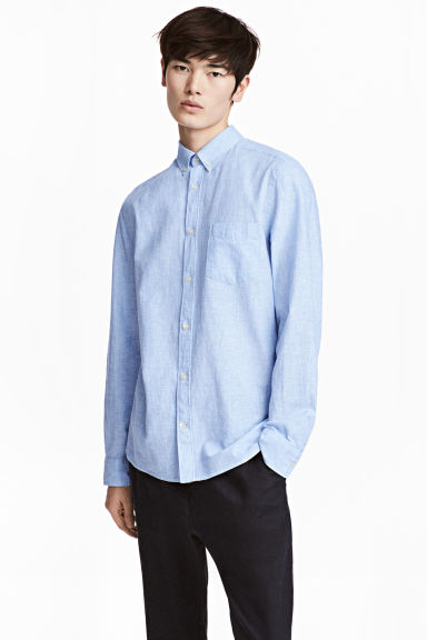 Linen-blend shirt Regular fit - Light blue -  | H&M CN 1