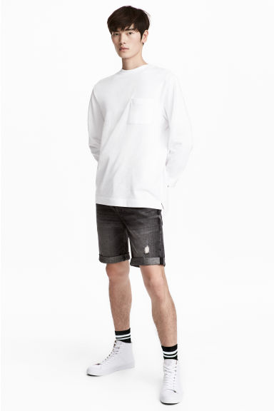 Short en jean - Noir washed out - HOMME | H&M CH 1