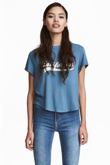 T-shirt with a motif - Pigeon blue - Ladies | H&M CN 1
