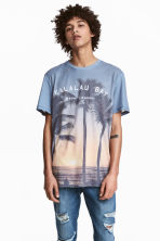 Patterned T-shirt - Blue/Palms - Men | H&M 1