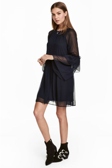 Chiffon dress - Dark blue - Ladies | H&M CN 1