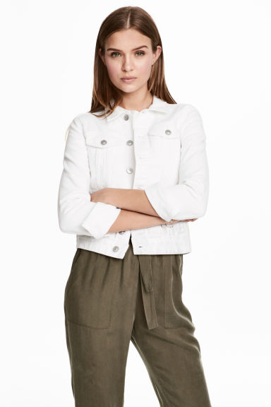 Denim jacket - White denim - Ladies | H&M 1