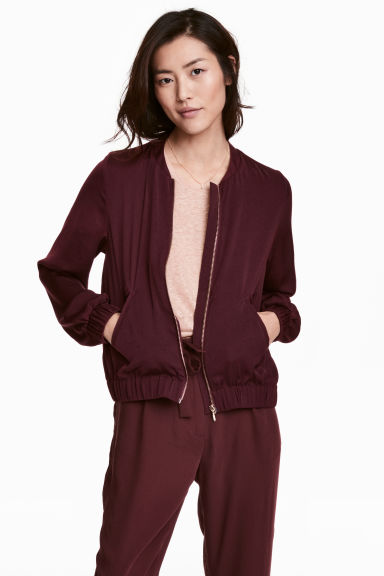 Satin bomber jacket - Burgundy - Ladies | H&M CN 1